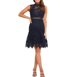 BARDOT Elise Navy Lace Fit Flare Cocktail Dress